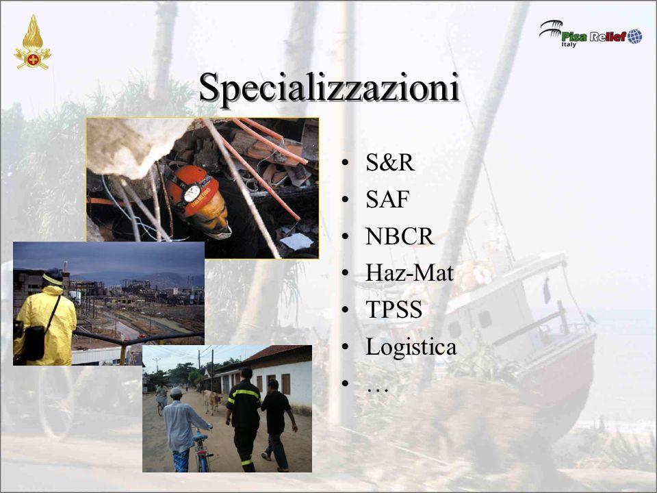 Specializzazioni S&R SAF NBCR Haz-Mat TPSS Logistica …