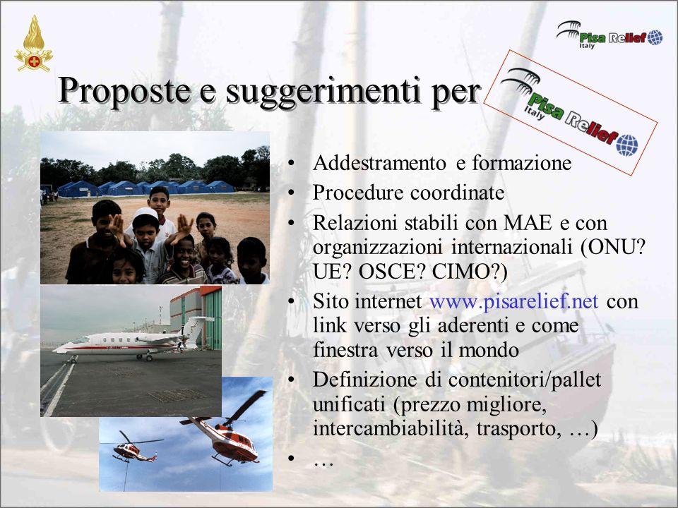 Proposte e suggerimenti per Addestramento e formazione Procedure coordinate Relazioni stabili con MAE e con organizzazioni internazionali (ONU.