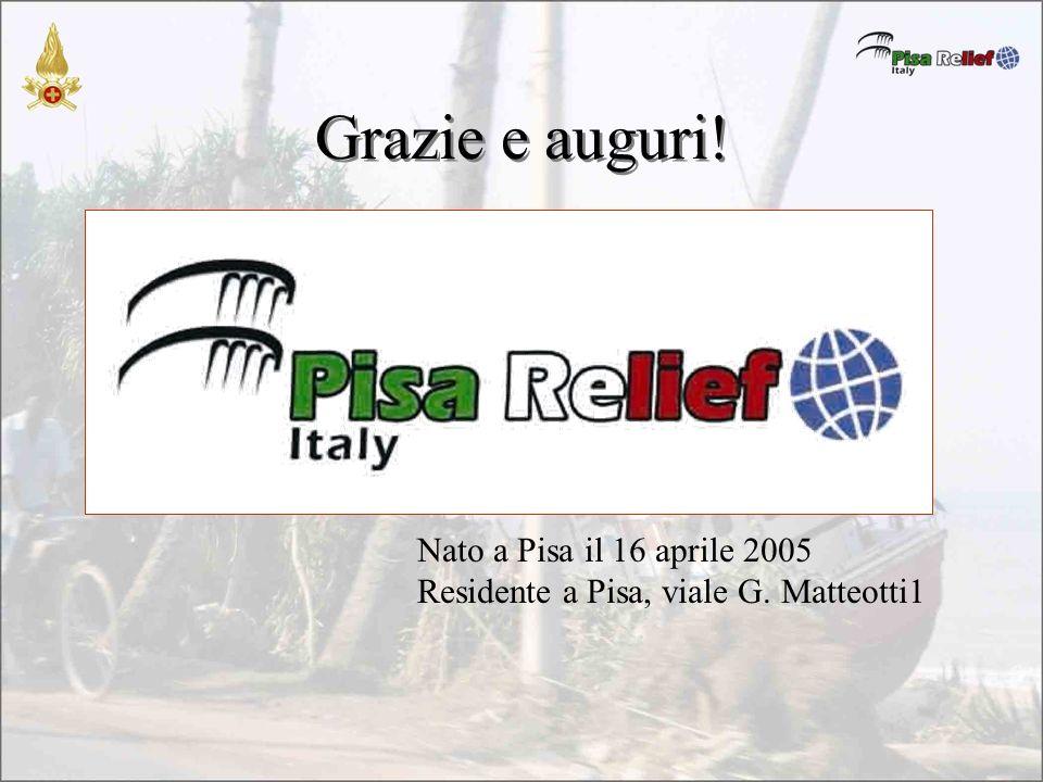 Grazie e auguri! Nato a Pisa il 16 aprile 2005 Residente a Pisa, viale G. Matteotti1
