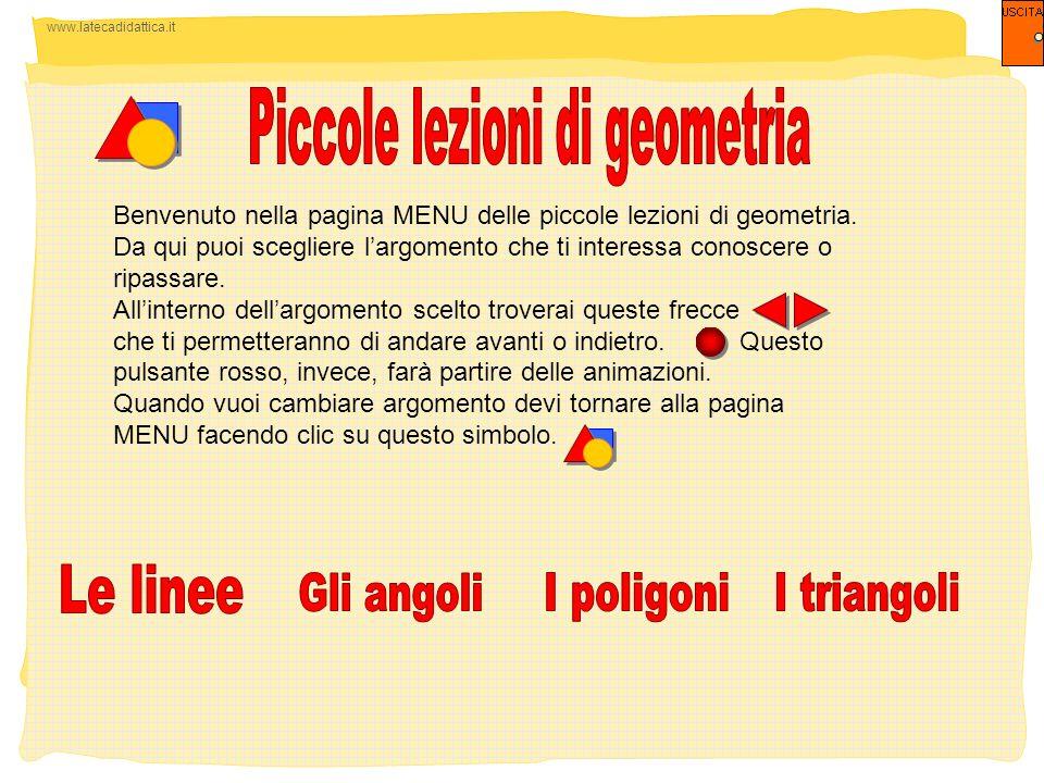 www.latecadidattica.it Benvenuto nella pagina MENU delle piccole lezioni di geometria. Da qui puoi scegliere largomento che ti interessa conoscere o r