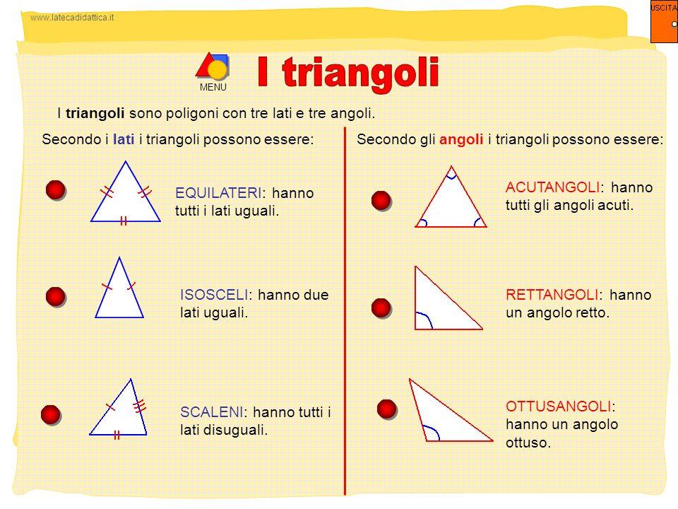 www.latecadidattica.it MENU I triangoli sono poligoni con tre lati e tre angoli. Secondo i lati i triangoli possono essere: EQUILATERI: hanno tutti i