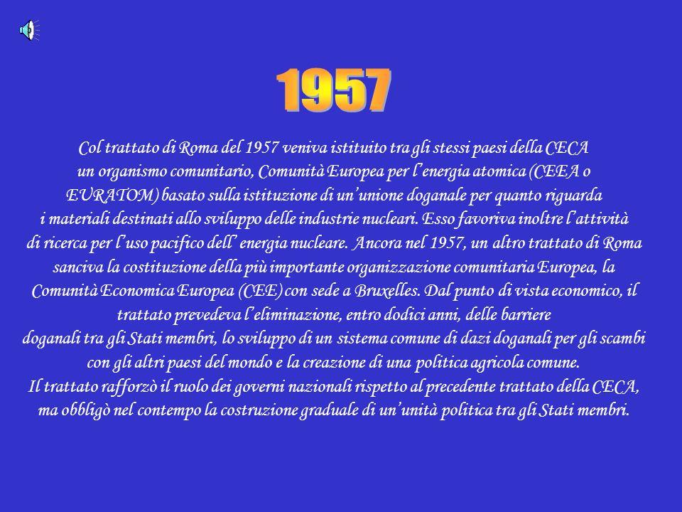 Col trattato di Roma del 1957 veniva istituito tra gli stessi paesi della CECA un organismo comunitario, Comunità Europea per lenergia atomica (CEEA o EURATOM) basato sulla istituzione di ununione doganale per quanto riguarda i materiali destinati allo sviluppo delle industrie nucleari.