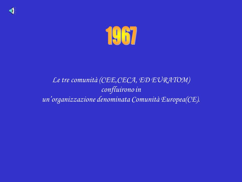 Le tre comunità (CEE,CECA, ED EURATOM) confluirono in unorganizzazione denominata Comunità Europea(CE).
