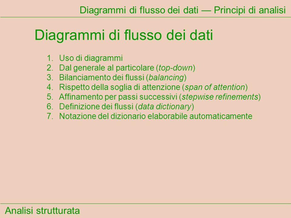 Analisi strutturata Diagrammi di flusso dei dati Principi di analisi Diagrammi di flusso dei dati 1.Uso di diagrammi 2.Dal generale al particolare (to