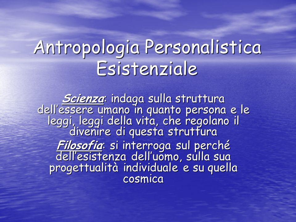 Antropologia Personalistica Esistenziale Scienza: indaga sulla struttura dellessere umano in quanto persona e le leggi, leggi della vita, che regolano