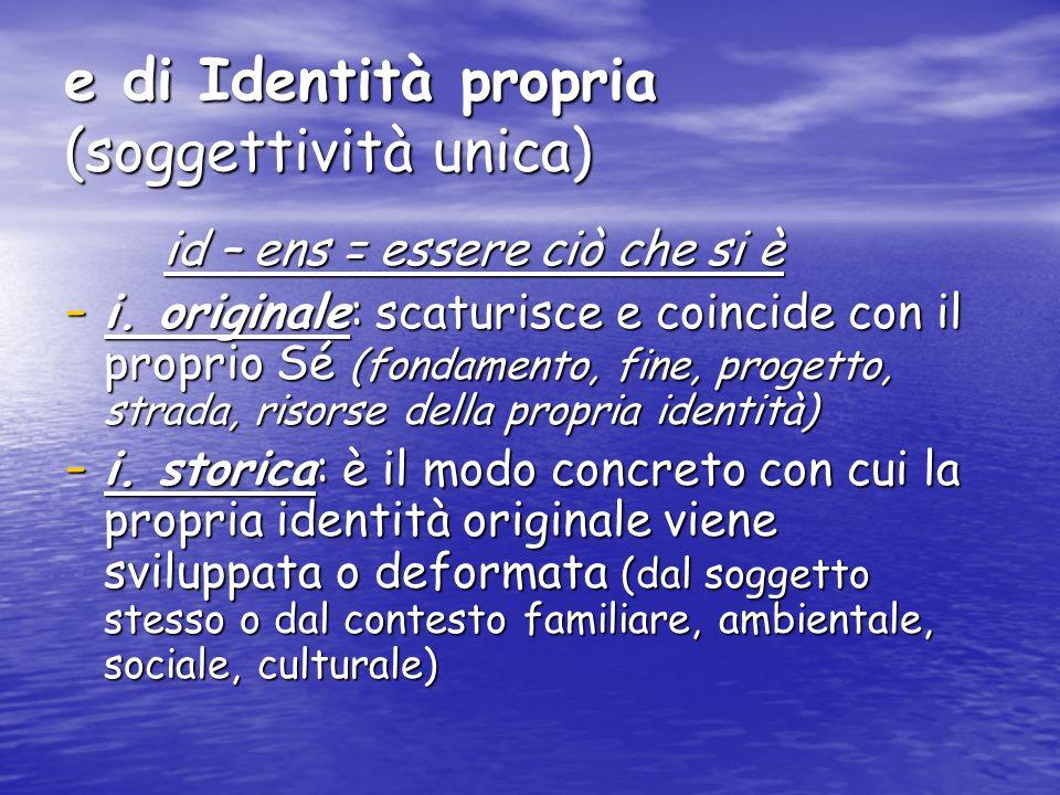 e di Identità propria (soggettività unica) id – ens = essere ciò che si è id – ens = essere ciò che si è - i. originale: scaturisce e coincide con il