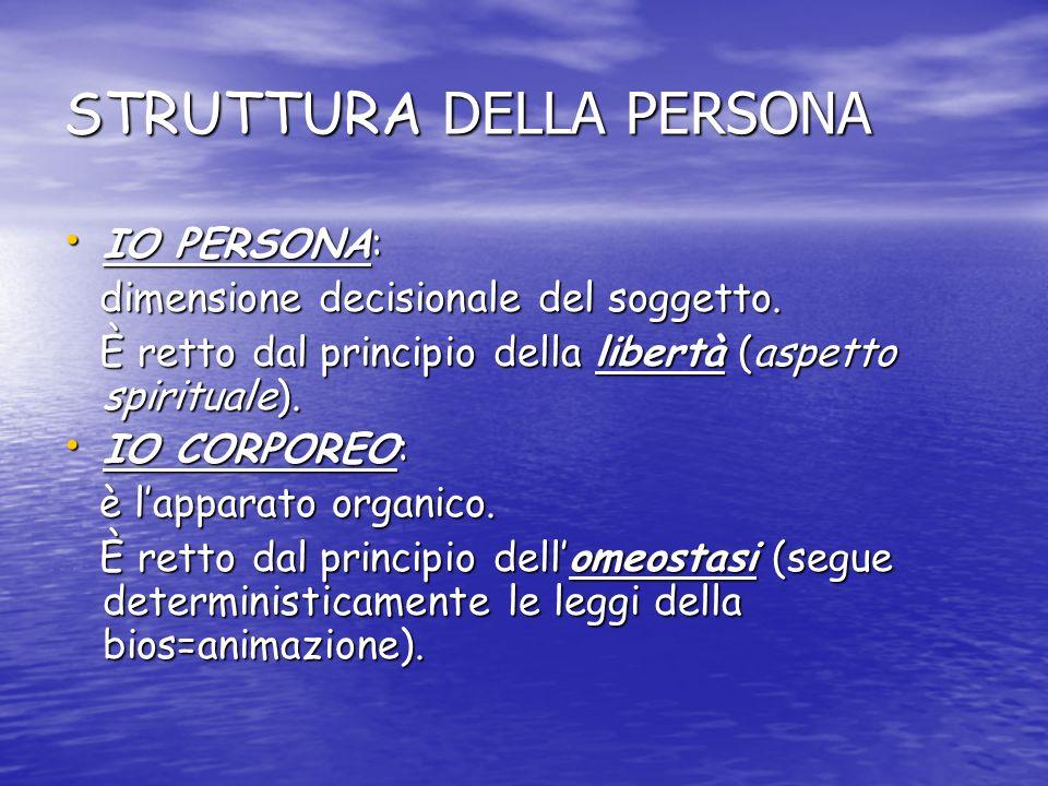 STRUTTURA DELLA PERSONA IO PERSONA: IO PERSONA: dimensione decisionale del soggetto. dimensione decisionale del soggetto. È retto dal principio della
