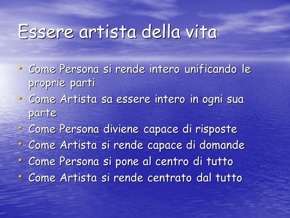 Essere artista della vita Come Persona si rende intero unificando le proprie parti Come Persona si rende intero unificando le proprie parti Come Artis