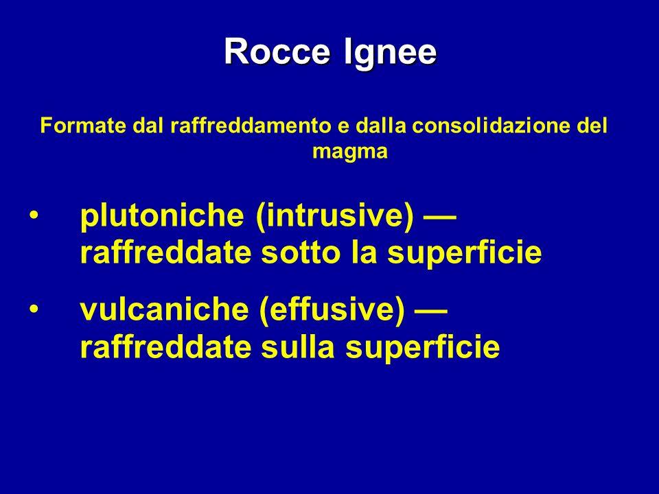 Rocce Ignee Formate dal raffreddamento e dalla consolidazione del magma plutoniche (intrusive) raffreddate sotto la superficie vulcaniche (effusive) r