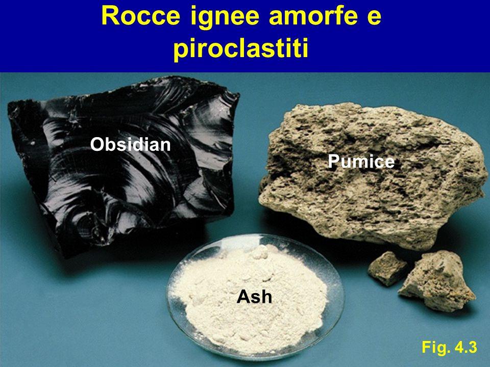 Rocce ignee amorfe e piroclastiti Fig. 4.3 Obsidian Pumice Ash
