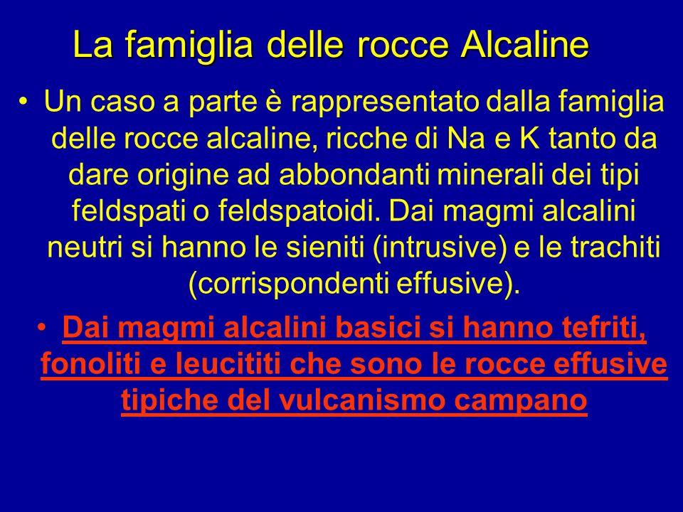 La famiglia delle rocce Alcaline Un caso a parte è rappresentato dalla famiglia delle rocce alcaline, ricche di Na e K tanto da dare origine ad abbond