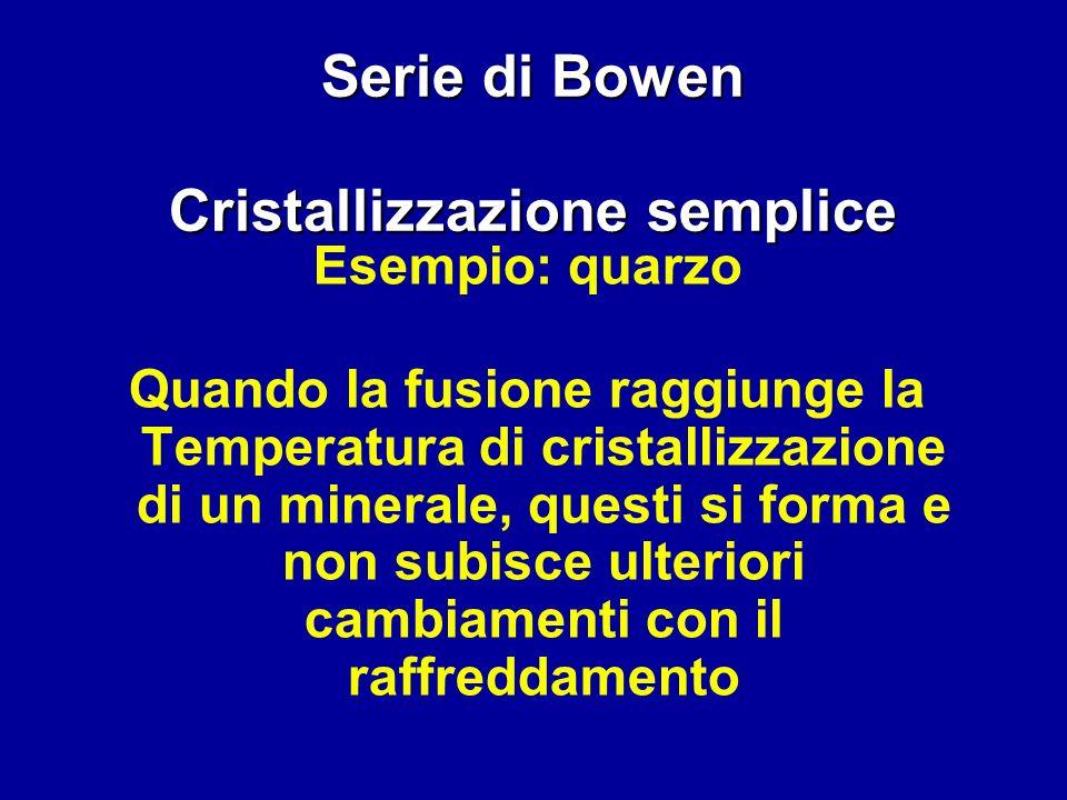 Serie di Bowen Cristallizzazione semplice Esempio: quarzo Quando la fusione raggiunge la Temperatura di cristallizzazione di un minerale, questi si fo