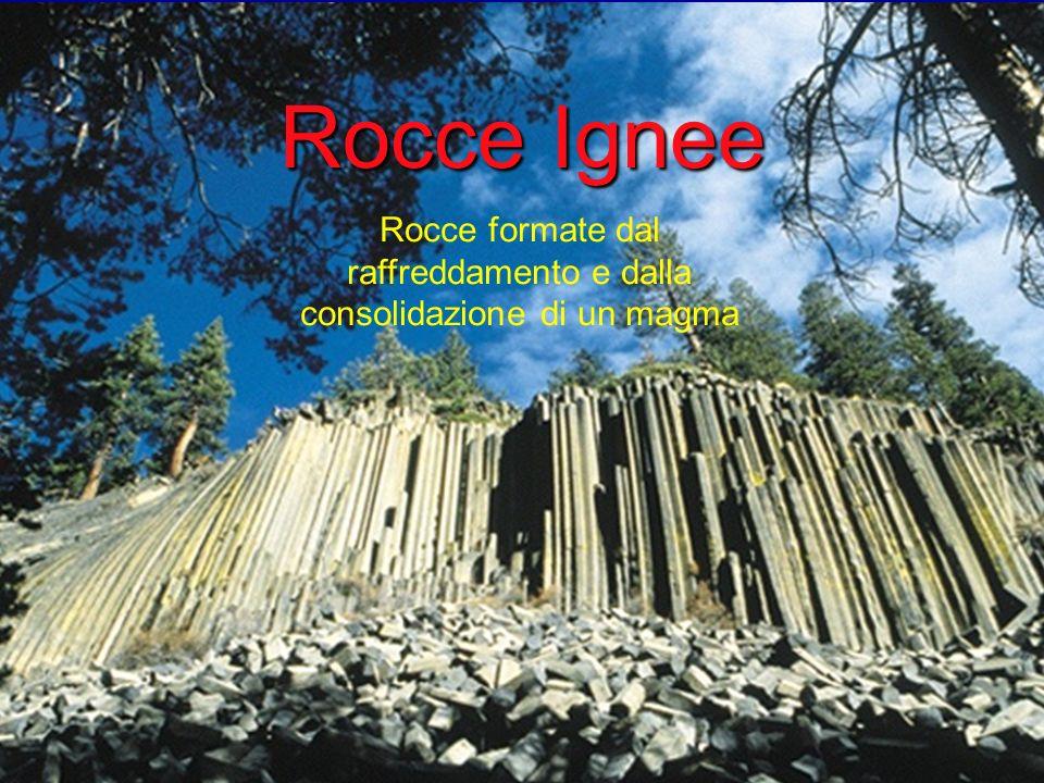 Rocce Ignee Rocce formate dal raffreddamento e dalla consolidazione di un magma
