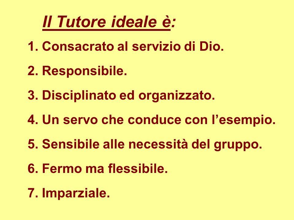 Il Tutore ideale è: 1. Consacrato al servizio di Dio. 2. Responsibile. 5. Sensibile alle necessità del gruppo. 4. Un servo che conduce con lesempio. 3