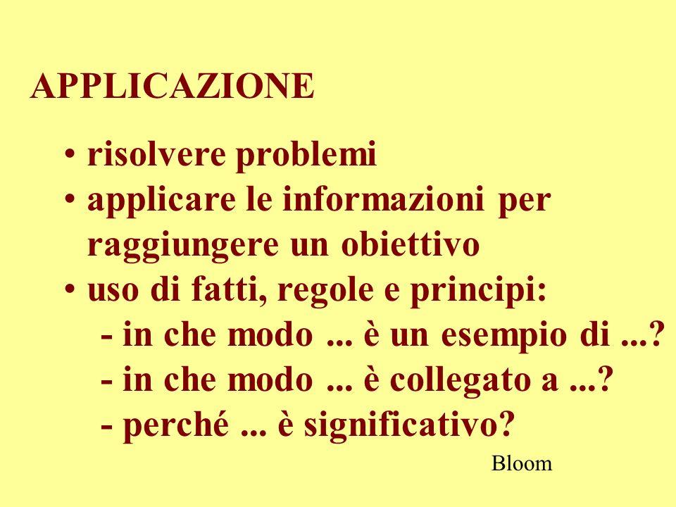 APPLICAZIONE risolvere problemi applicare le informazioni per raggiungere un obiettivo uso di fatti, regole e principi: - in che modo... è un esempio