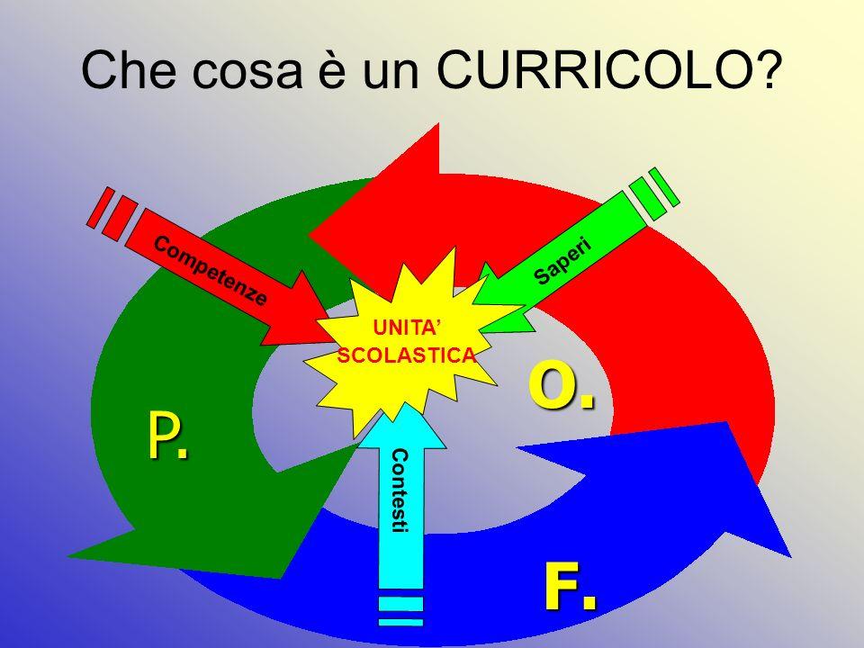 Che cosa è un CURRICOLO? Competenze Saperi Contesti UNITA SCOLASTICA P. O. F.