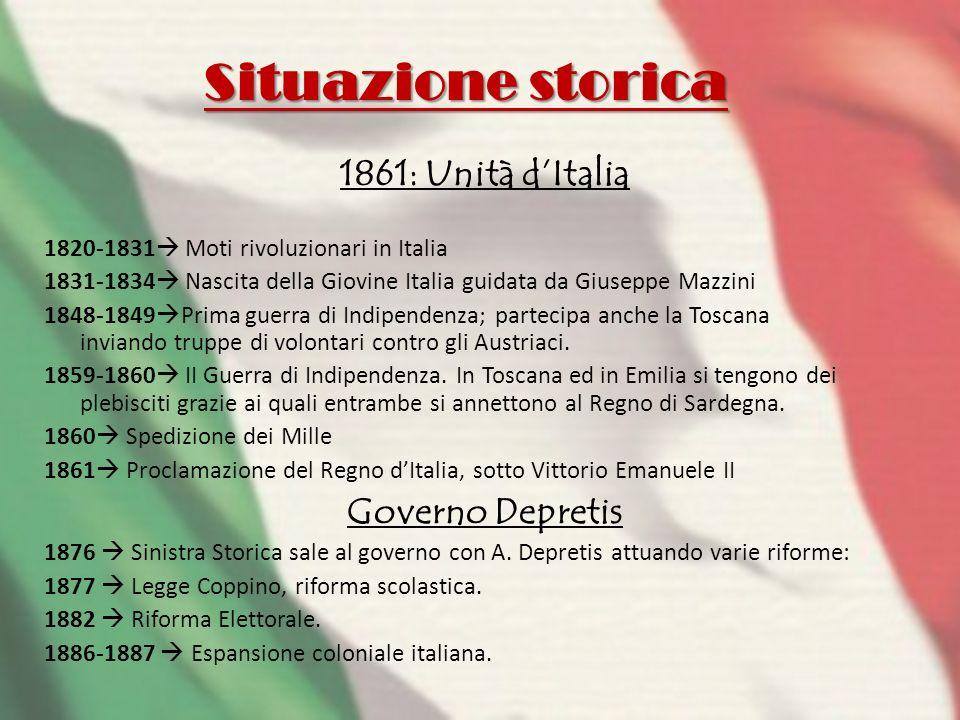 Situazione storica 1861: Unità dItalia 1820-1831 Moti rivoluzionari in Italia 1831-1834 Nascita della Giovine Italia guidata da Giuseppe Mazzini 1848-