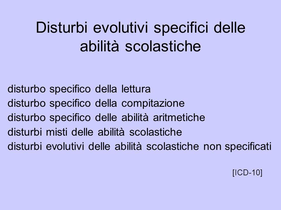 Disturbi evolutivi specifici delle abilità scolastiche disturbo specifico della lettura disturbo specifico della compitazione disturbo specifico delle