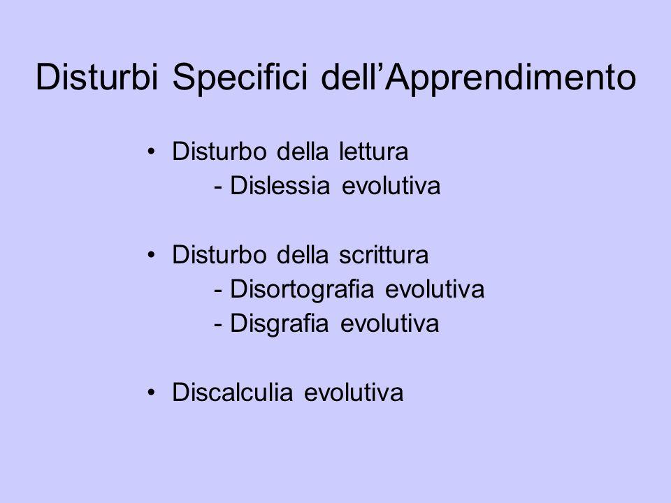 Disturbi Specifici dellApprendimento Disturbo della lettura - Dislessia evolutiva Disturbo della scrittura - Disortografia evolutiva - Disgrafia evolu