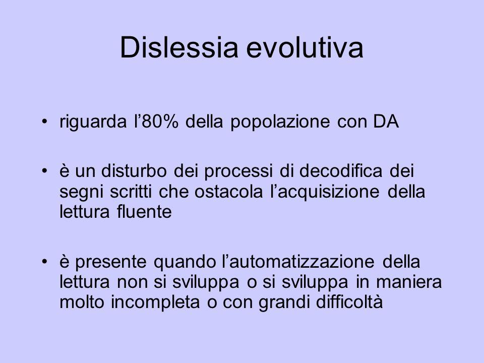 Dislessia evolutiva riguarda l80% della popolazione con DA è un disturbo dei processi di decodifica dei segni scritti che ostacola lacquisizione della