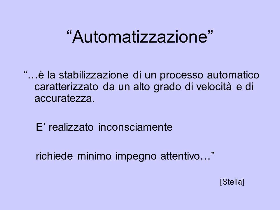 Automatizzazione …è la stabilizzazione di un processo automatico caratterizzato da un alto grado di velocità e di accuratezza. E realizzato inconsciam