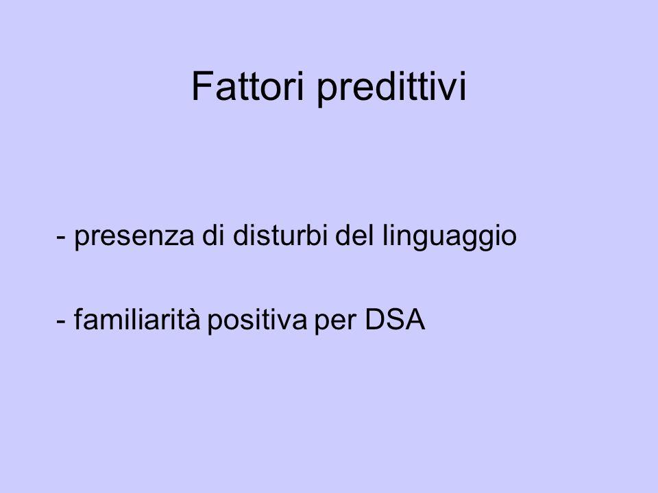 Fattori predittivi - presenza di disturbi del linguaggio - familiarità positiva per DSA