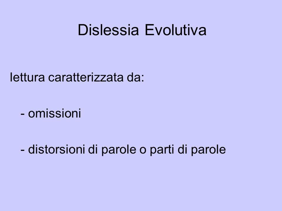 Dislessia Evolutiva lettura caratterizzata da: - omissioni - distorsioni di parole o parti di parole