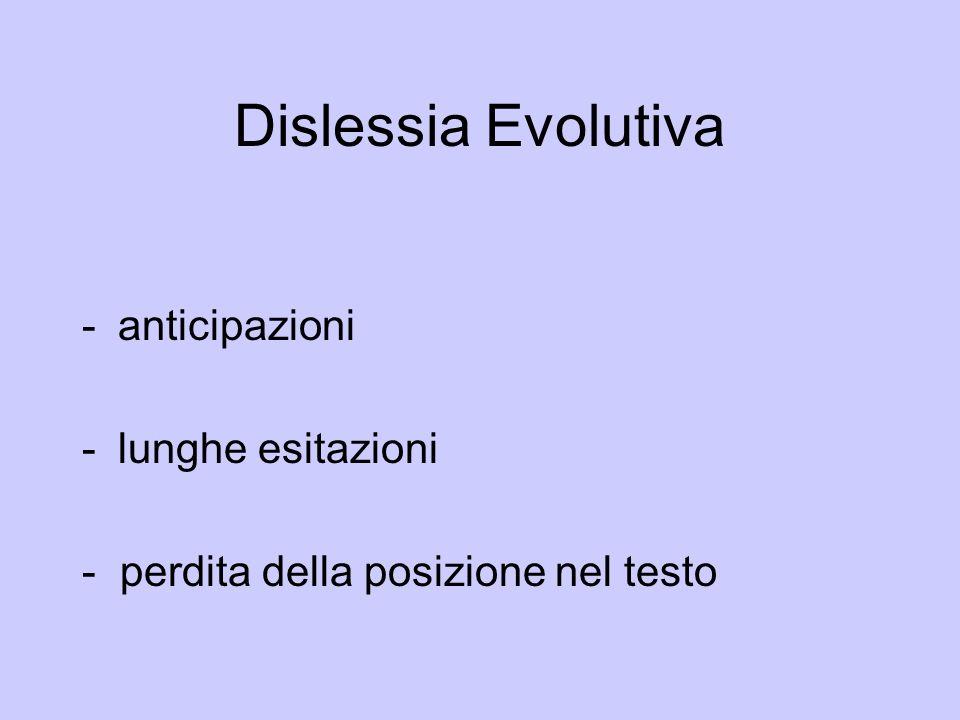 Dislessia Evolutiva -anticipazioni -lunghe esitazioni - perdita della posizione nel testo
