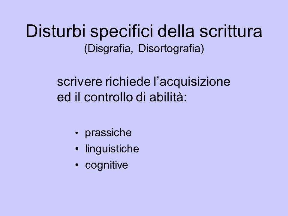 Disturbi specifici della scrittura (Disgrafia, Disortografia) scrivere richiede lacquisizione ed il controllo di abilità: prassiche linguistiche cogni