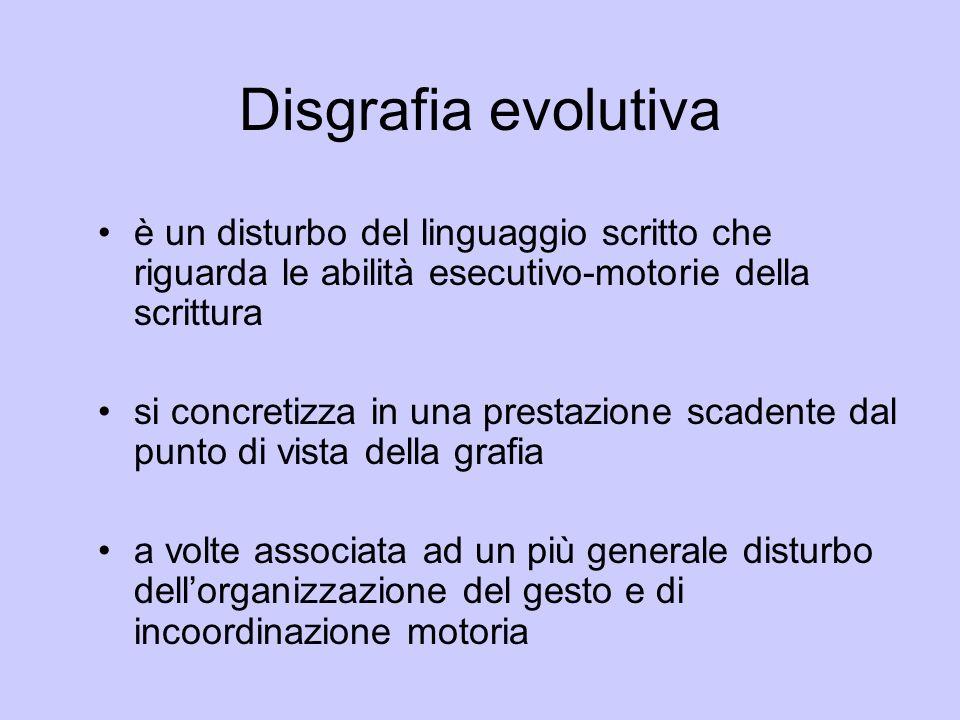 Disgrafia evolutiva è un disturbo del linguaggio scritto che riguarda le abilità esecutivo-motorie della scrittura si concretizza in una prestazione s
