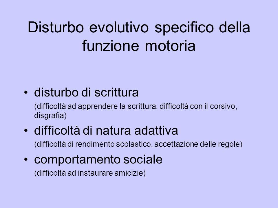 Disturbo evolutivo specifico della funzione motoria disturbo di scrittura (difficoltà ad apprendere la scrittura, difficoltà con il corsivo, disgrafia