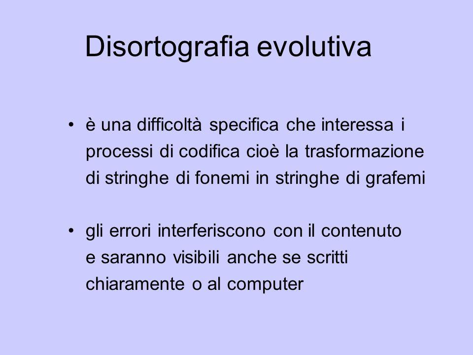 Disortografia evolutiva è una difficoltà specifica che interessa i processi di codifica cioè la trasformazione di stringhe di fonemi in stringhe di gr
