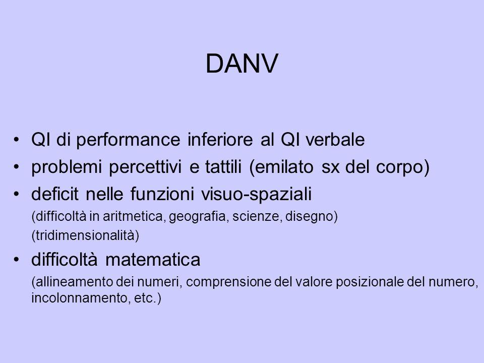DANV QI di performance inferiore al QI verbale problemi percettivi e tattili (emilato sx del corpo) deficit nelle funzioni visuo-spaziali (difficoltà