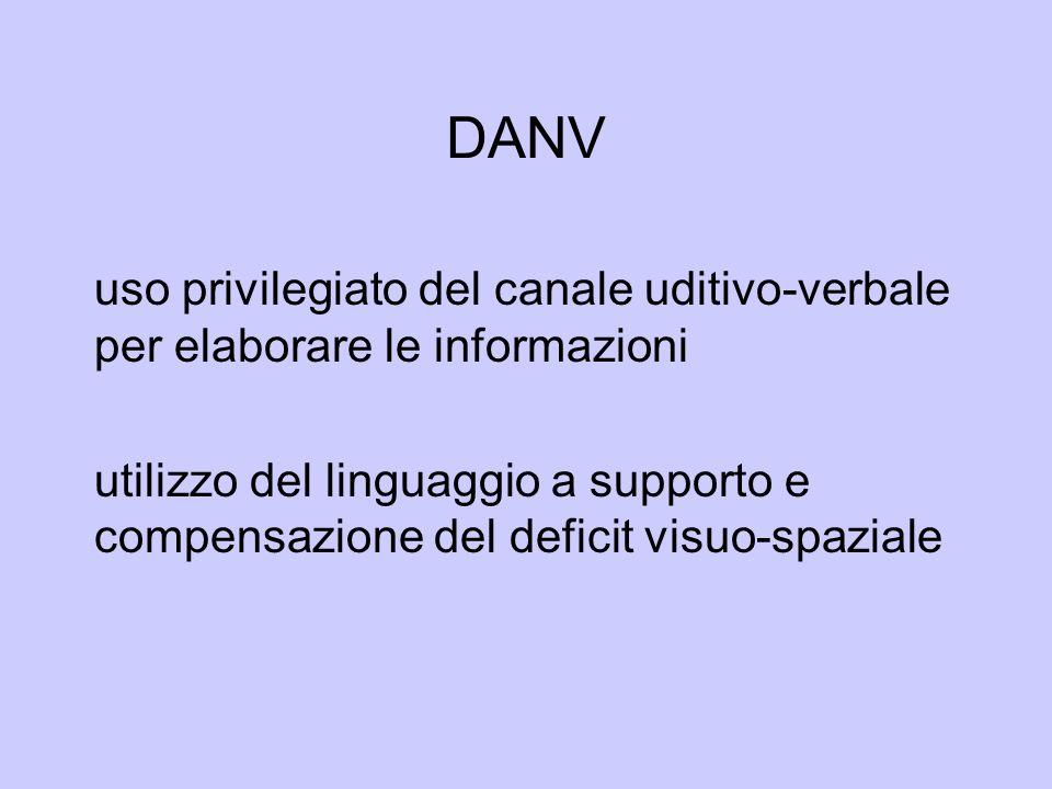 DANV uso privilegiato del canale uditivo-verbale per elaborare le informazioni utilizzo del linguaggio a supporto e compensazione del deficit visuo-sp