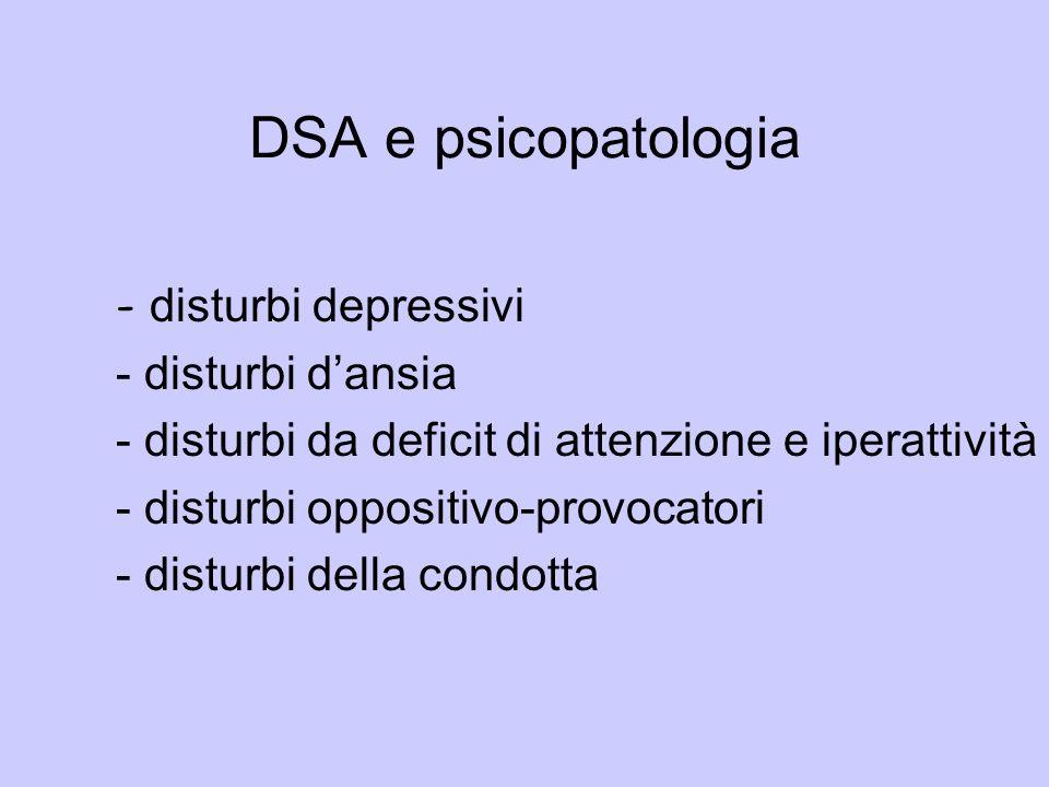 DSA e psicopatologia - disturbi depressivi - disturbi dansia - disturbi da deficit di attenzione e iperattività - disturbi oppositivo-provocatori - di
