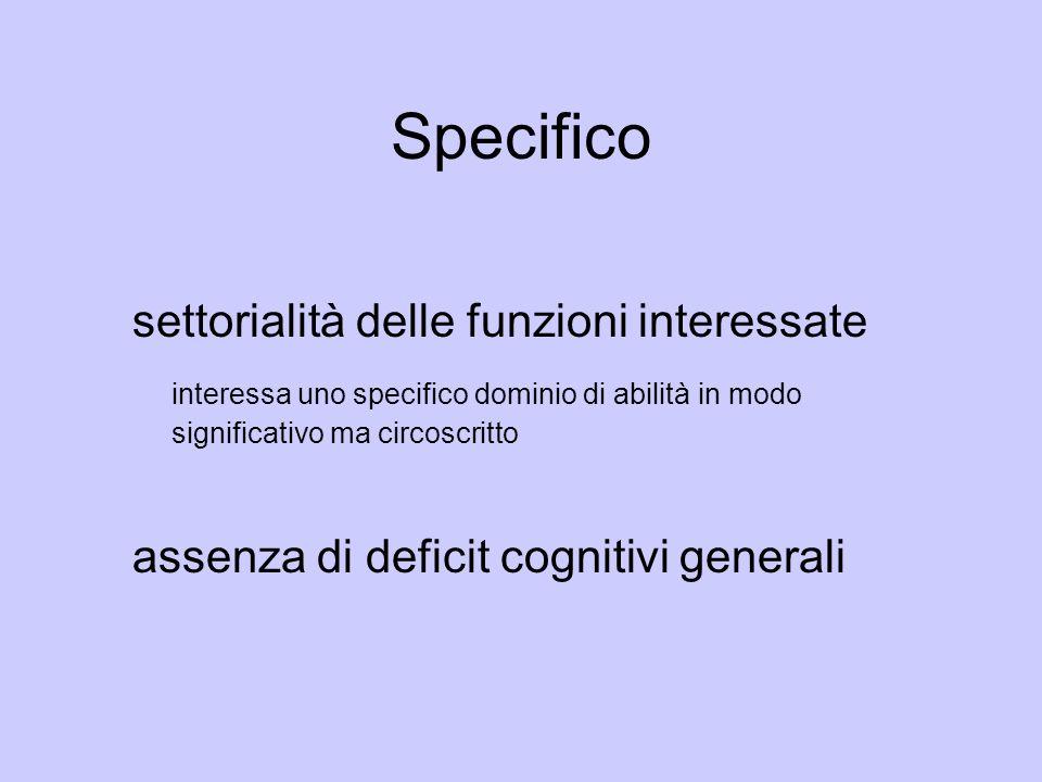Specifico settorialità delle funzioni interessate interessa uno specifico dominio di abilità in modo significativo ma circoscritto assenza di deficit