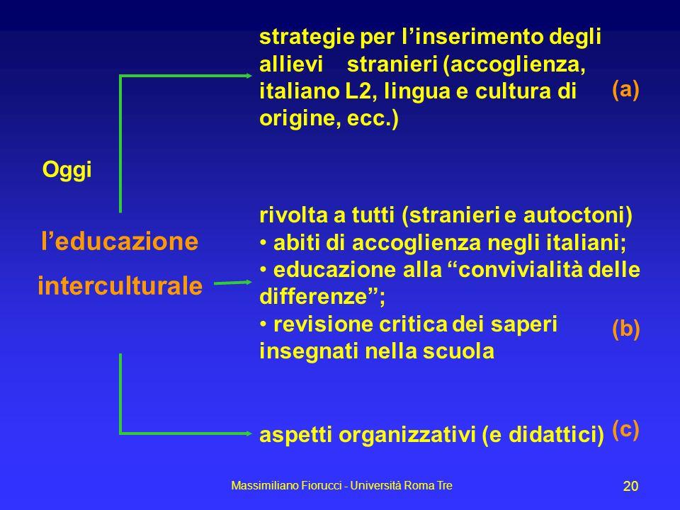 Massimiliano Fiorucci - Università Roma Tre 20 leducazione interculturale Oggi strategie per linserimento degli allievi stranieri (accoglienza, italia