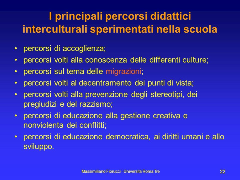 Massimiliano Fiorucci - Università Roma Tre 22 I principali percorsi didattici interculturali sperimentati nella scuola percorsi di accoglienza; perco