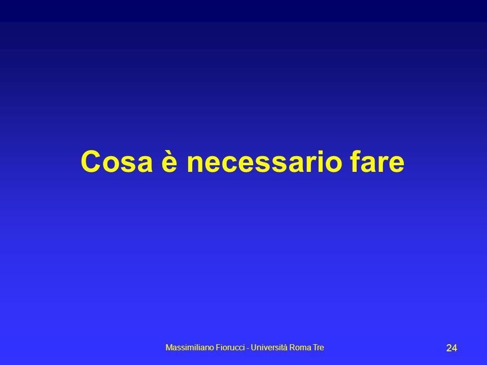 Massimiliano Fiorucci - Università Roma Tre 24 Cosa è necessario fare