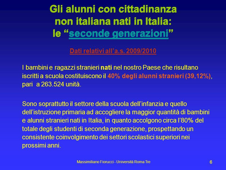 Massimiliano Fiorucci - Università Roma Tre 6 Gli alunni con cittadinanza non italiana nati in Italia: le seconde generazioniseconde generazioni Dati