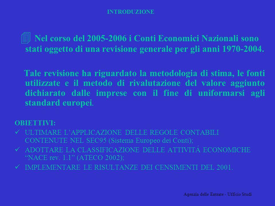 Agenzia delle Entrate - Ufficio Studi INTRODUZIONE 4 Nel corso del 2005-2006 i Conti Economici Nazionali sono stati oggetto di una revisione generale per gli anni 1970-2004.