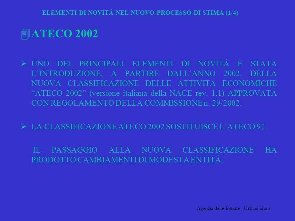Agenzia delle Entrate - Ufficio Studi ELEMENTI DI NOVITÁ NEL NUOVO PROCESSO DI STIMA (1/4) 4ATECO 2002 UNO DEI PRINCIPALI ELEMENTI DI NOVITÁ È STATA LINTRODUZIONE, A PARTIRE DALLANNO 2002, DELLA NUOVA CLASSIFICAZIONE DELLE ATTIVITÁ ECONOMICHE ATECO 2002 (versione italiana della NACE rev.