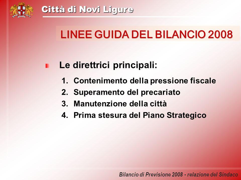 Città di Novi Ligure Bilancio di Previsione 2008 - relazione del Sindaco Le direttrici principali: 1.Contenimento della pressione fiscale 2.Superament