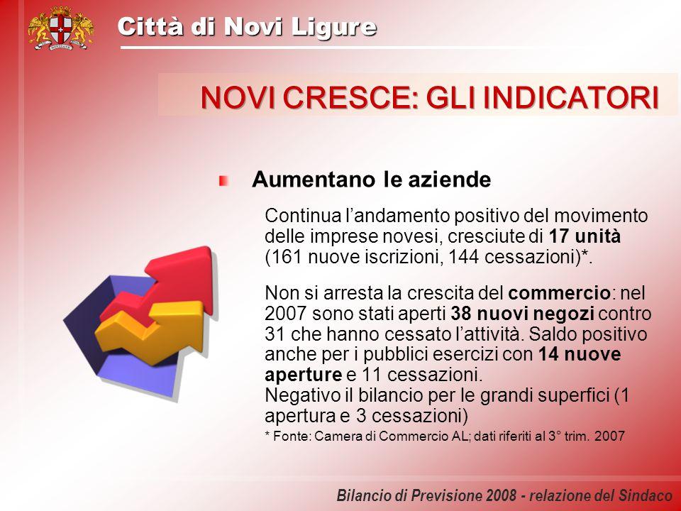 Città di Novi Ligure Bilancio di Previsione 2008 - relazione del Sindaco Aumentano le aziende Continua landamento positivo del movimento delle imprese