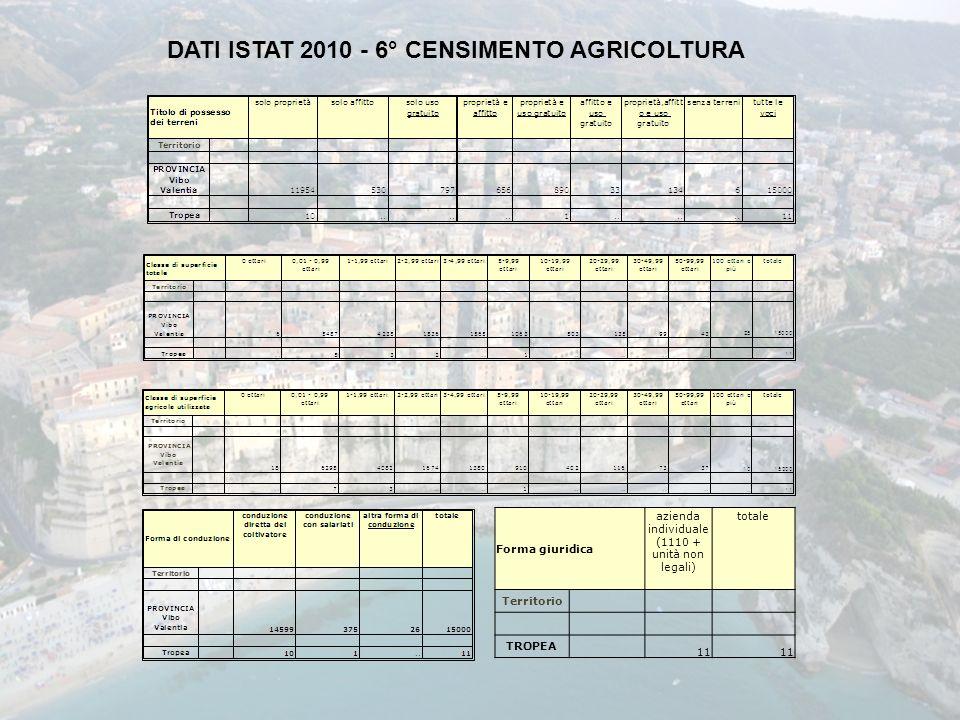 DATI ISTAT 2010 - 6° CENSIMENTO AGRICOLTURA Forma giuridica azienda individuale (1110 + unità non legali) totale Territorio TROPEA 11