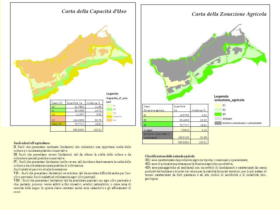 Classificazione delle aziende agricole E1: aree caratterizzate da produzioni agricole tipiche, vocazionali e specializzate; E2: aree di primaria impor