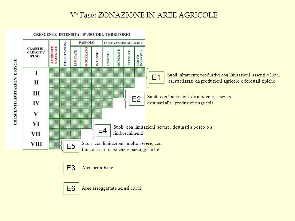 Classificazione delle aziende agricole E1: aree caratterizzate da produzioni agricole tipiche, vocazionali e specializzate; E2: aree di primaria importanza per la funzione agricola e produttiva; E5: aree paesaggistiche ed ambientali non suscettibili di insediamenti e caratterizzati da scarsa produttività fondiaria e di notevole valore per la stabilità fisica del territorio; per lo più trattasi di terreni caratterizzati da forti pendenze e ad alto rischio di erodibilità e di instabilità idro- geologica; Suoli adatti all agricoltura II Suoli che presentano moderate limitazioni che richiedono una opportuna scelta delle colture e/o moderate pratiche conservative III Suoli che presentano severe limitazioni, tali da ridurre la scelta delle colture e da richiedere speciali pratiche conservative.