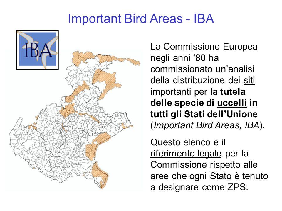 La Commissione Europea negli anni 80 ha commissionato unanalisi della distribuzione dei siti importanti per la tutela delle specie di uccelli in tutti