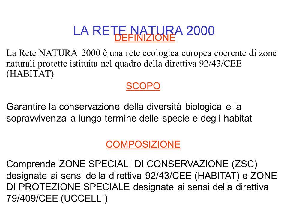 LA RETE NATURA 2000 La Rete NATURA 2000 è una rete ecologica europea coerente di zone naturali protette istituita nel quadro della direttiva 92/43/CEE
