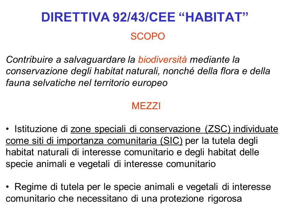 DIRETTIVA 92/43/CEE HABITAT SCOPO Contribuire a salvaguardare la biodiversità mediante la conservazione degli habitat naturali, nonché della flora e d